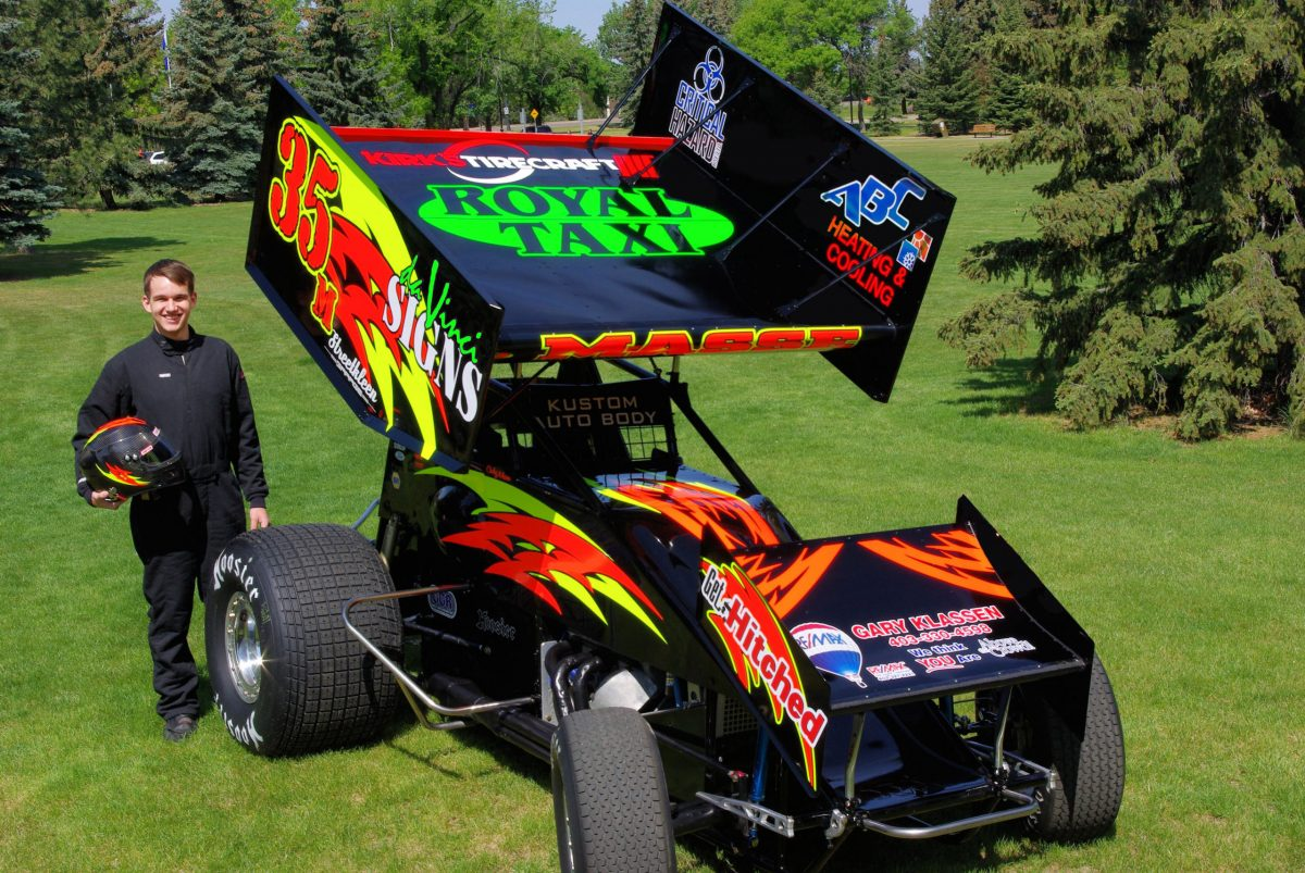Racecar lettering in cut and printed vinyl graphics