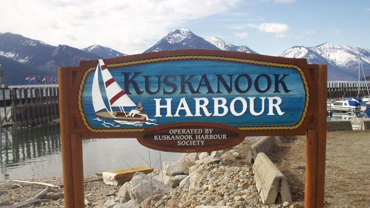 Kuskanook Harbour Cedar Sign