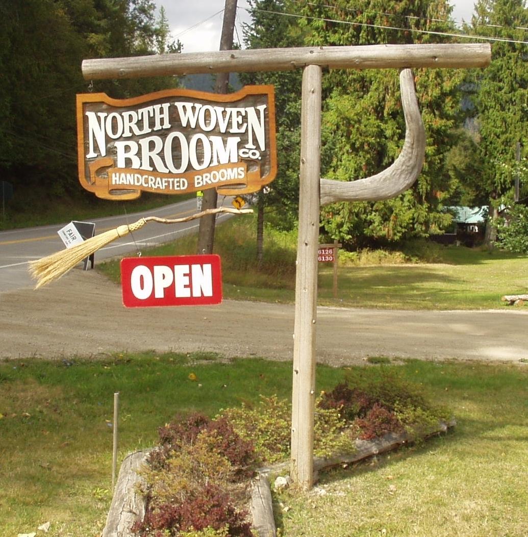 North Woven Broom Cedar Sign
