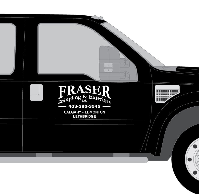 Fraser Shingling & Exteriors Vehicle Lettering